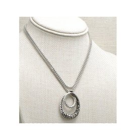 "Fossick Imports 30"" Silver Double Circle Pendant"