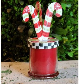 Round Top Collection Candy Cane Candle