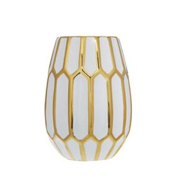 "Home Essentials 10"" White With Gold Trim Honeycomb Vase"
