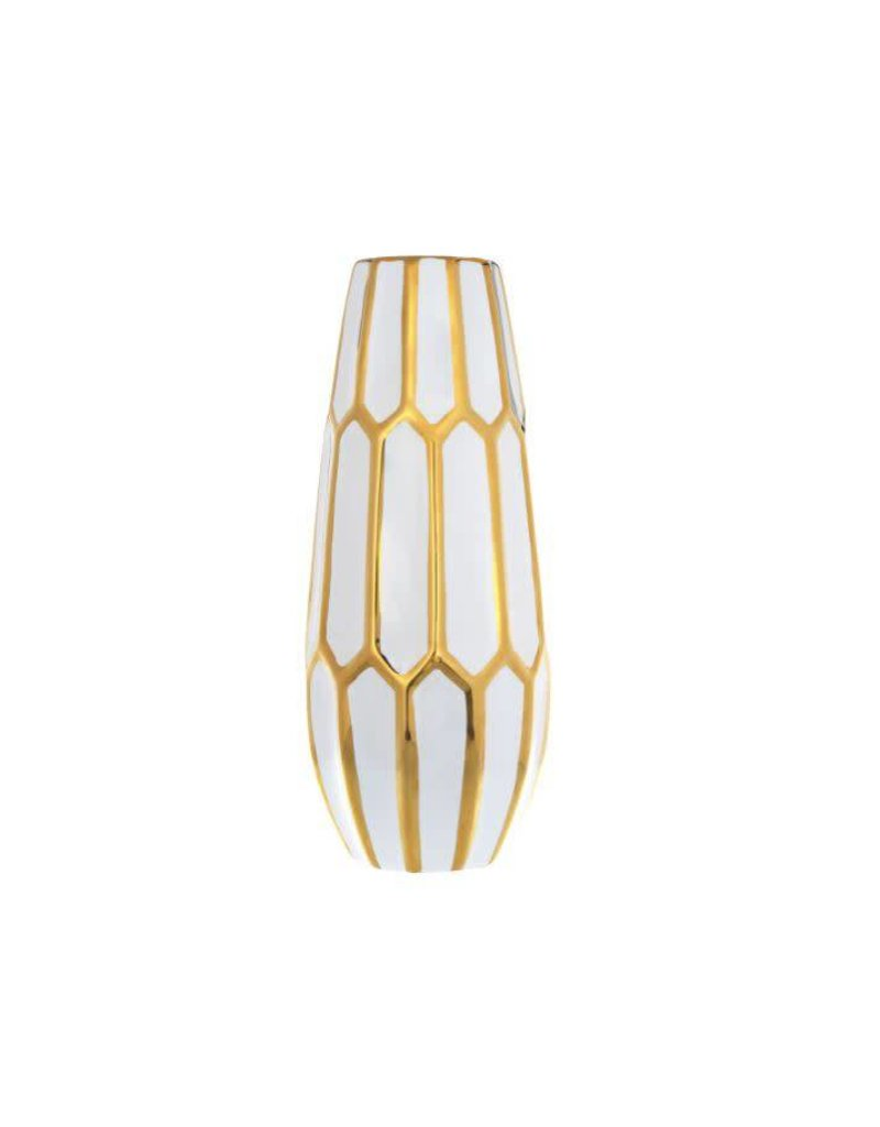 "Home Essentials 14"" White With Gold Trim Honeycomb Vase"