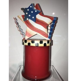 Round Top Collection Double Star Flag Candle