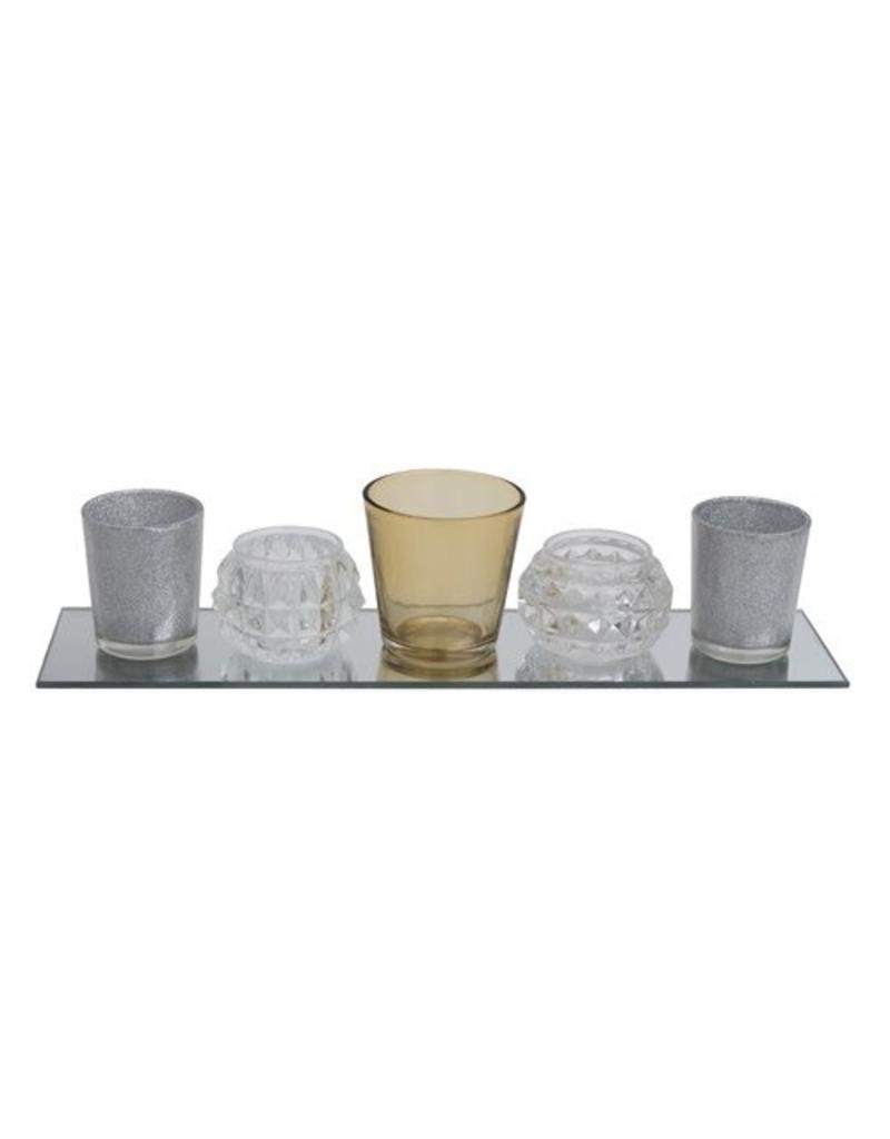 Transpac 5 piece glass tray set