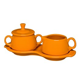 The Homer Laughlin China Company Sugar & Creamer Tray Set Butterscotch