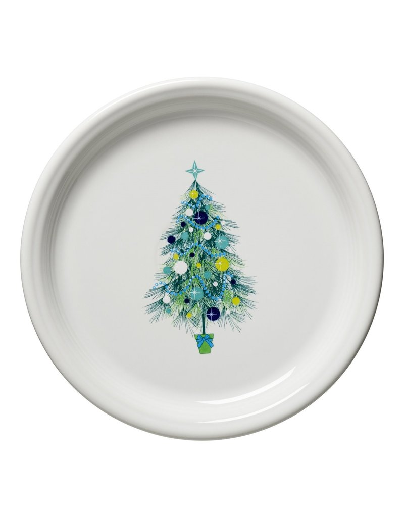 The Homer Laughlin China Company Blue Christmas Tree on White Bistro Buffet Plate