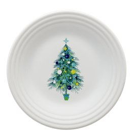 The Homer Laughlin China Company Blue Christmas Tree on White Luncheon Plate