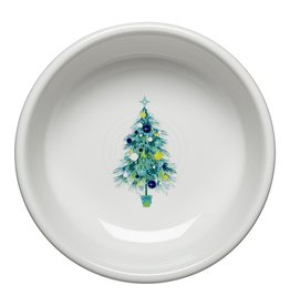 The Homer Laughlin China Company Blue Christmas Tree on White Small Bowl