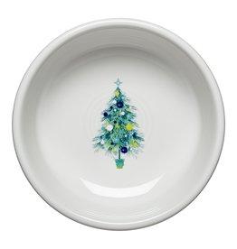 The Homer Laughlin China Company Blue Christmas Tree on White Small Bowl