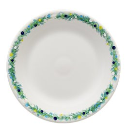 The Homer Laughlin China Company Blue Christmas Tree on White Dinner Plate