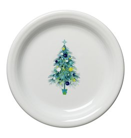The Homer Laughlin China Company Blue Christmas Tree on White Appetizer Plate