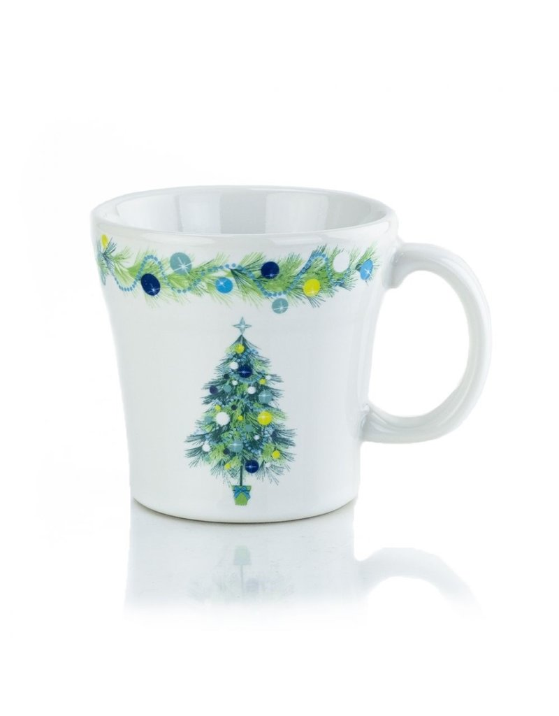 The Homer Laughlin China Company Blue Christmas Tree on White Tapered Mug