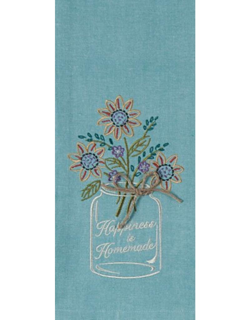 Happiness Embroidered Tea Towel