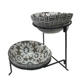 Grey Floral 2 Tier Oval Serving Bowls