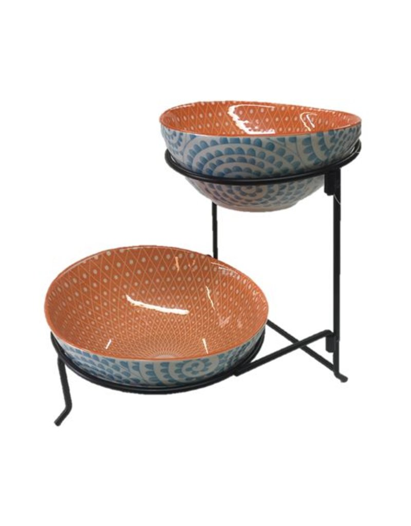 Aqua Swirl 2 Tier Oval Serving Bowls