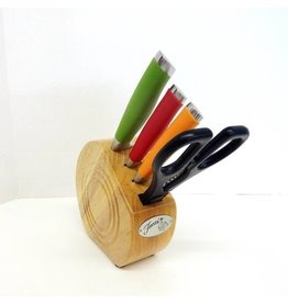 5 pc Cutlery Prep Block Set Multi Color