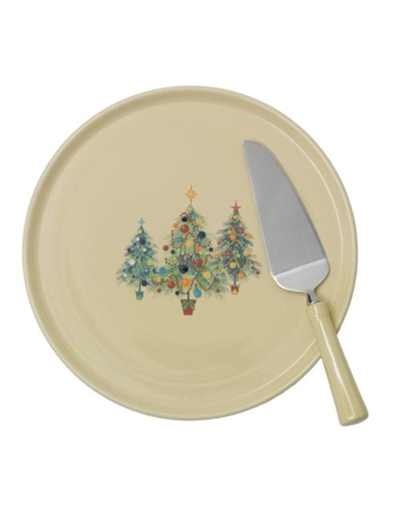 Cake Plate with Ceramic Handled Server Fiesta® Christmas Trio Tree