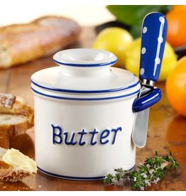 Butter Bell Crock Parisian Polka Dot BLUE