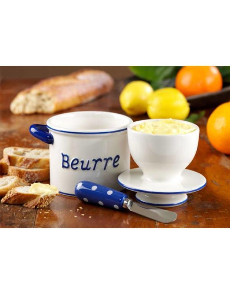 Butter Bell Crock Parisian Polka Dot BLUE