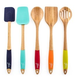 5 Piece Bamboo Fiesta Multi-Colored Silicon Utensil Set