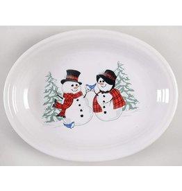 Medium  Platter 11 5/8 Snowman and Lady