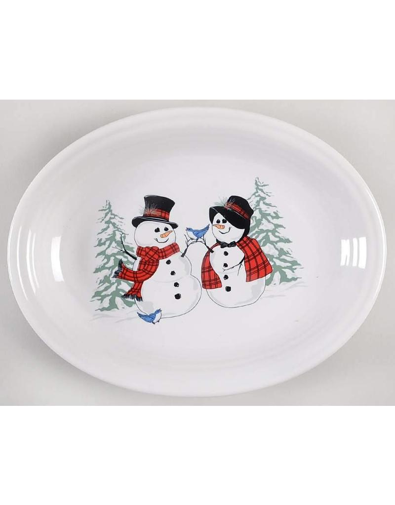 Medium  Platter 11 5/8 Snowman and Lady