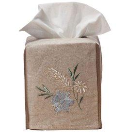 Natural Linen Tissue Box Meadow Blue