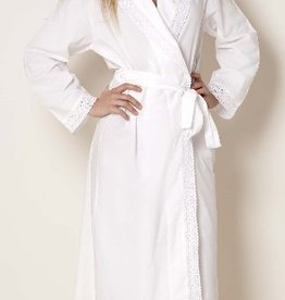 Cotton bathrobe with lace collar