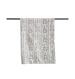 Natural and Black Mudcloth Pattern Throw Blanket