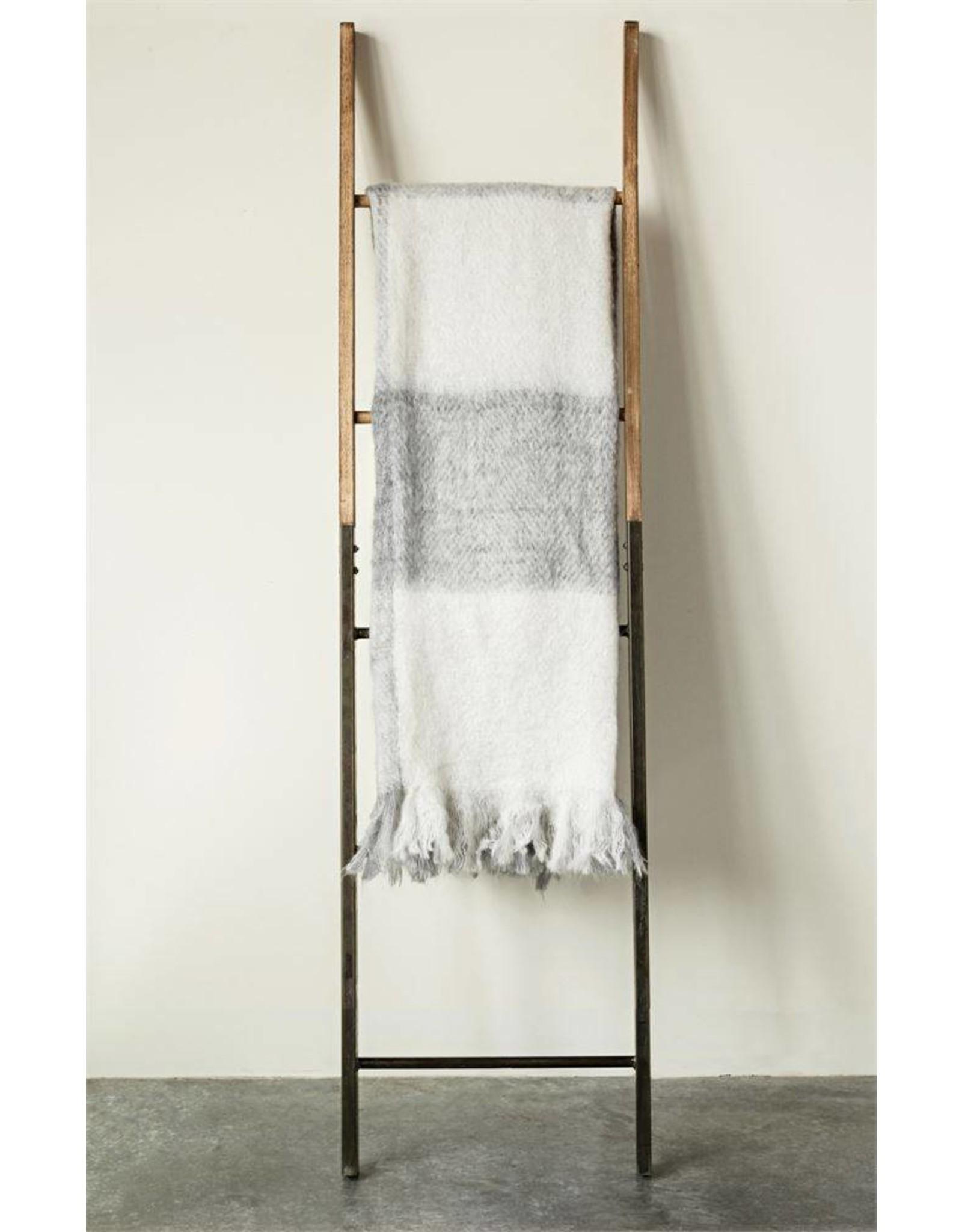 White Mohair & Acrylic Throw Blanket