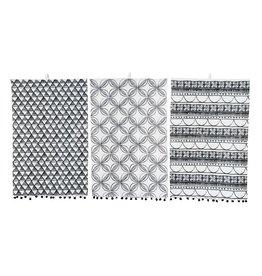 "28""x18"" Cotton Tea Towel black and white w/ Pom poms"
