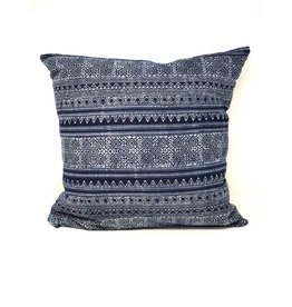 Natural 20x20 Hamong Embroidered strip tribal pillow