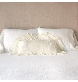 Valentina Kidney Throw Pillow with Silk Guaze Ruffle
