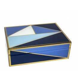 Glass and Wood Box with Blue Geometric Design
