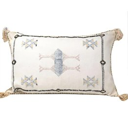 Vintage Lumbar Washed White sabra silk cactus pillow