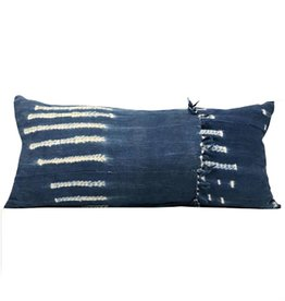 Double Sided African Striped Baoule Mudcloth Shibori Blue indigo pillow