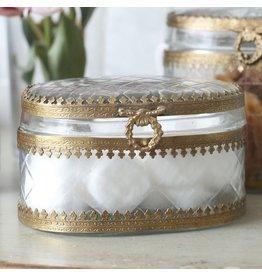 Short Oval Filagree Glass Box