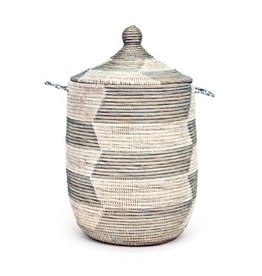 Large Silver & White Herringbone Hamper