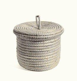 Round White Storage Basket w/Lid