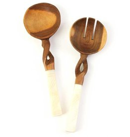 Olivewood Twisted Salad Set with White Bone Handles