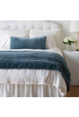 Carmen Lumbar Throw Pillow with charmeuse petite ruffle Mineral