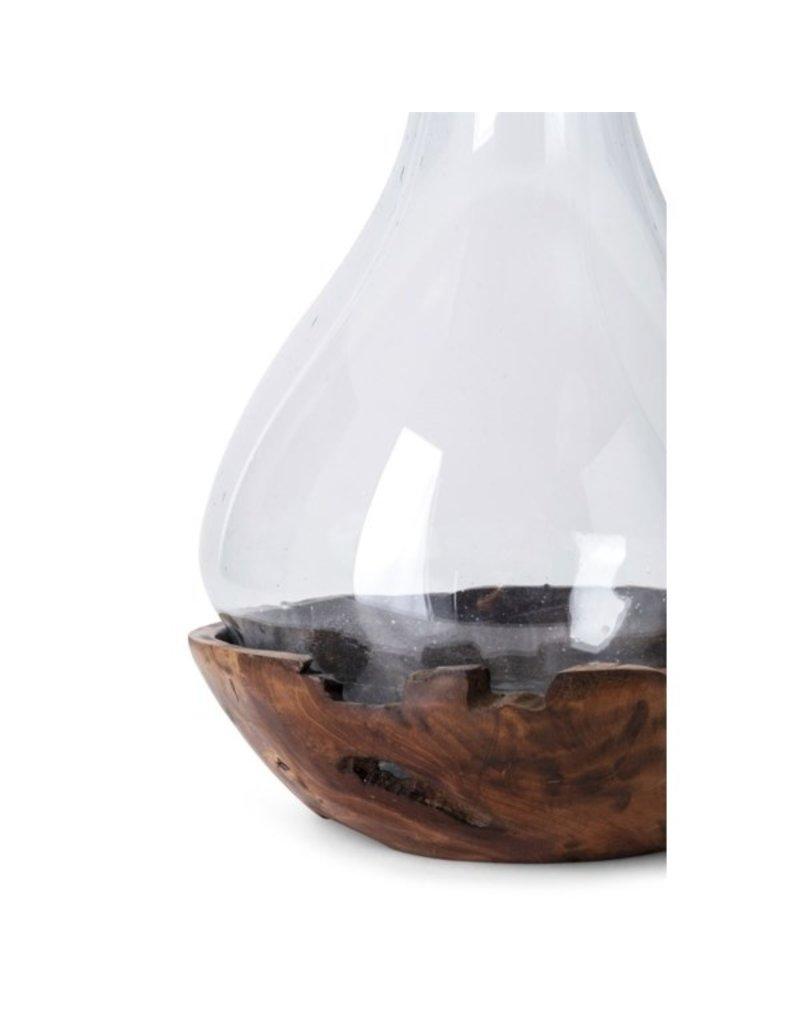 Abner Blown Glass and Teak Wood Vase