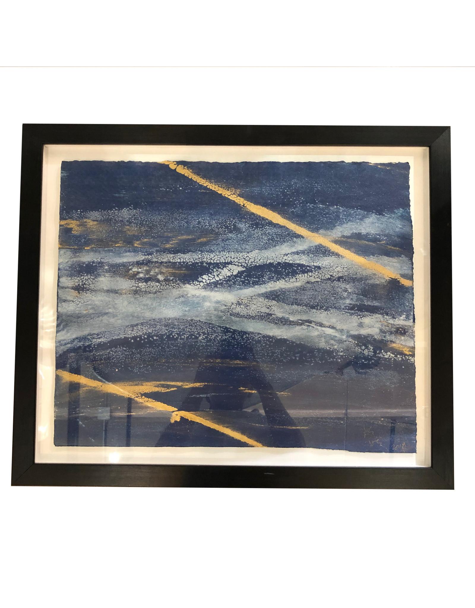 20x24 Austin James Framed Navy/Gold