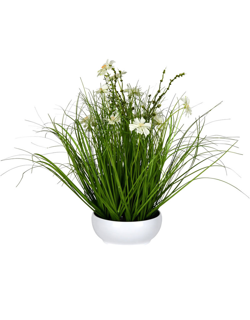 """Cream Potted Cosmos Grass 16.5"""""""