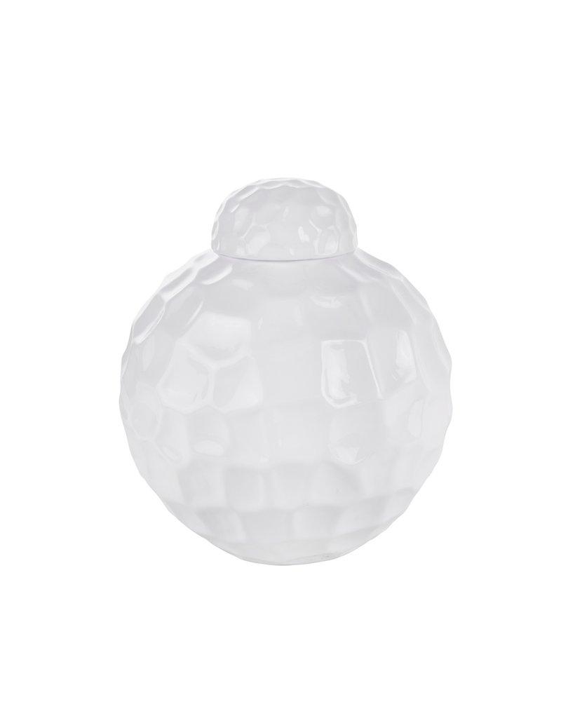 Rotund White Dimpled Jar