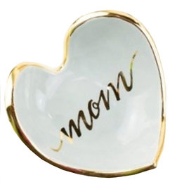 Mom Calligraphy Heart Dish 22k gold rim