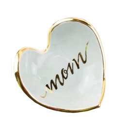 Mom Calligraphy Heart Dish 22k gold rim