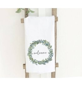 Welcome Boxwood Wreath Tea Towel