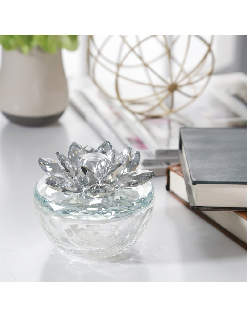Glass Trinket box clear with silver top