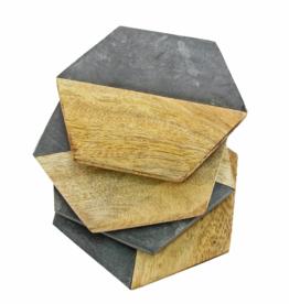 Elements Coaster Set/4 Wood