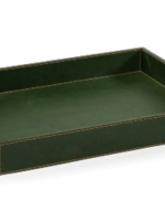 Rectangular Leather Tray Green
