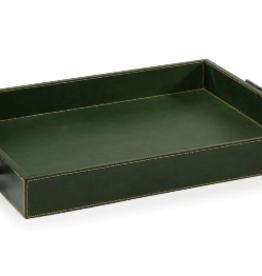 Rectangular Leather Tray Green